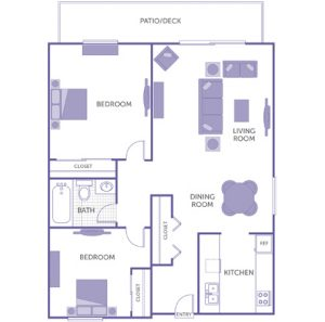 2 bed 1 bath floor plan, kitchen, dining room, living room, patio/deck, 3 closets