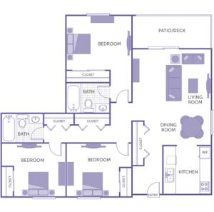 3 bed 2 bath floor plan, kitchen, dining room, living room, patio/deck, 6 closets